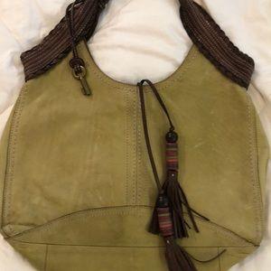 Fossil Brand  green leather shoulder bag